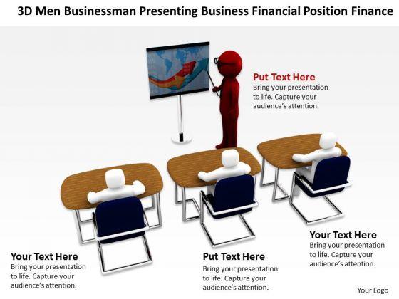 People Business 3d Men Businessman Presenting Financial Position Finance PowerPoint Slides