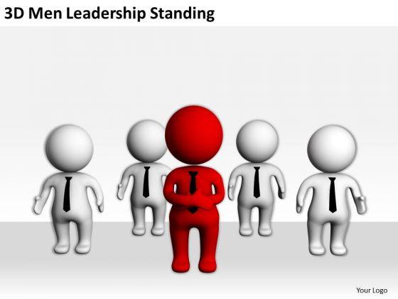 People Business 3d Men Leadership Standing PowerPoint Slides