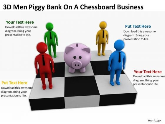 People Business 3d Men Piggy Bank On Chessboard PowerPoint Slides