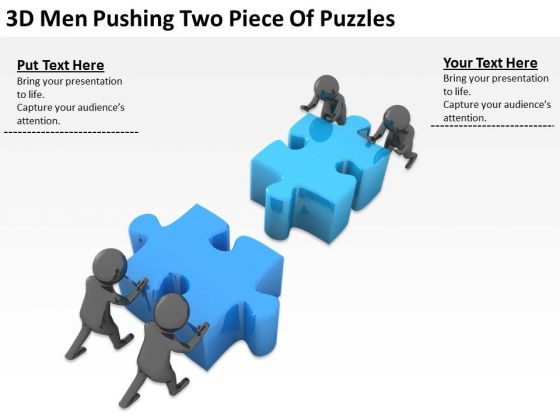 People Business 3d Men Pushing Two Piece Of Puzzles PowerPoint Templates Ppt Backgrounds For Slides