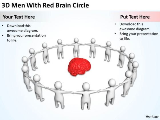 People Business 3d Men With Red Brain Circle PowerPoint Slides