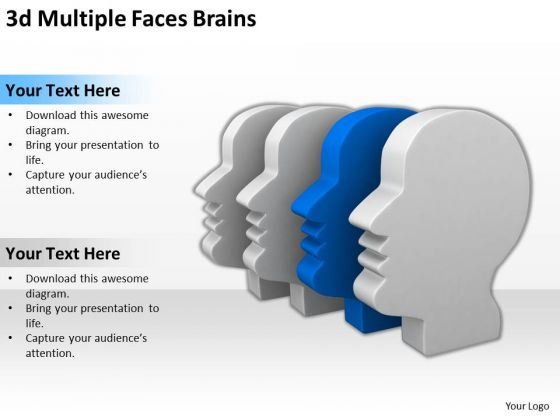 People Business 3d Multiple Faces Brains PowerPoint Slides