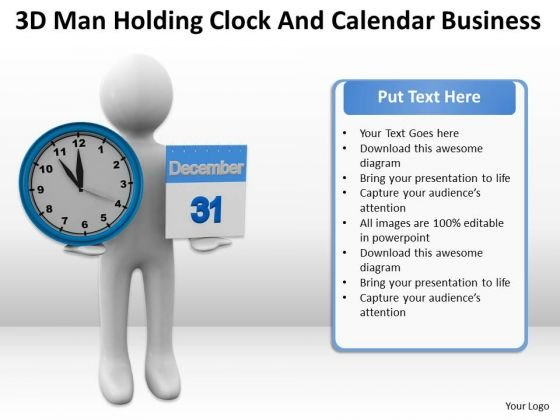 People Business Holding Clock And Calendar New PowerPoint Presentation Slides
