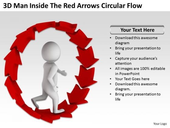 People Business Inside The Red Arrows Circular Flow PowerPoint Templates Ppt Backgrounds For Slides