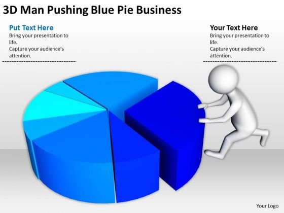 People Business Pushing Blue Pie PowerPoint Templates Free Download