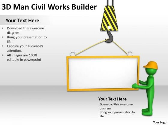 People In Business 3d Man Civil Works Builder PowerPoint Templates