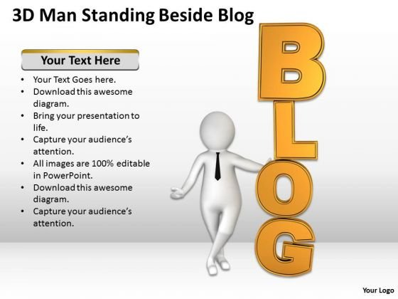 People In Business 3d Man Standing Beside Blog PowerPoint Templates