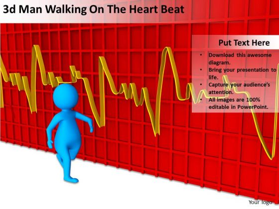 People In Business 3d Man Walking On The Heart Beat PowerPoint Templates