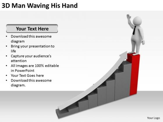People In Business 3d Man Waving His Hand PowerPoint Templates Ppt Backgrounds For Slides