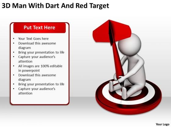 People In Business 3d Man With Dart And Red Target PowerPoint Templates