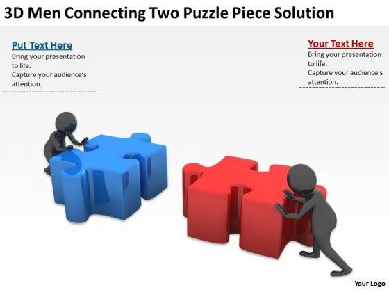 People In Business 3d Men Connecting Two Puzzle Piece Solution PowerPoint Slides