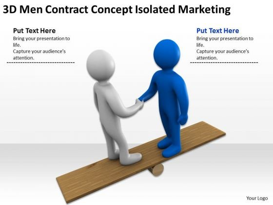 People In Business 3d Men Contract Concept Isolated Marketing PowerPoint Slides