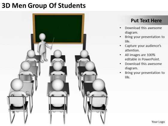 People In Business 3d Men Group Of Students PowerPoint Templates