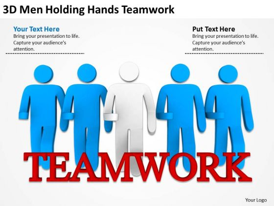 People In Business 3d Men Holding Hands Teamwork PowerPoint Templates
