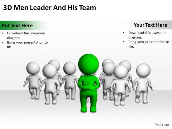 People In Business 3d Men Leader And His Team PowerPoint Templates