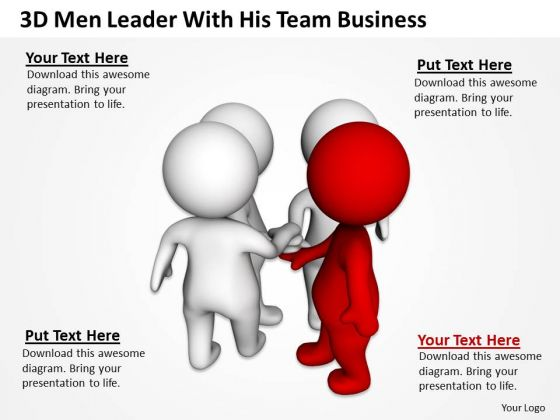 People In Business 3d Men Leader With His Team PowerPoint Theme Templates