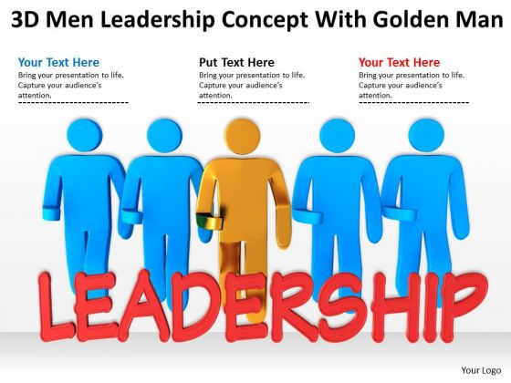 People In Business 3d Men Leadership Concept With Golden Man PowerPoint Templates