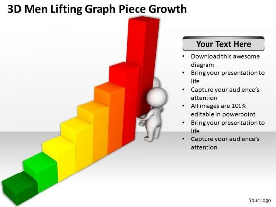 People In Business 3d Men Lifting Graph Piece Growth PowerPoint Templates