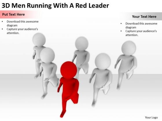 People In Business 3d Men Running With A Red Leader PowerPoint Slides