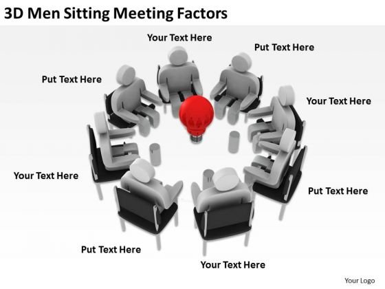 People In Business 3d Men Sitting Meeting Factors PowerPoint Templates