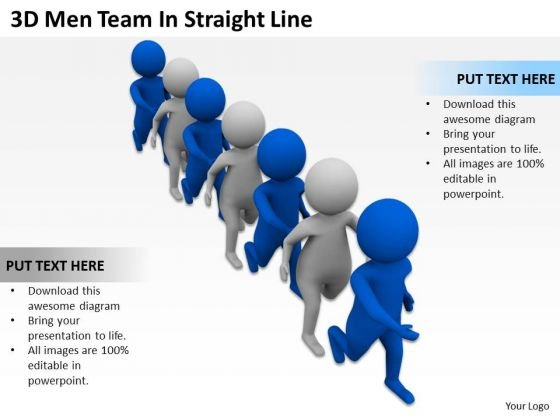 People In Business 3d Men Team Straight Line PowerPoint Templates