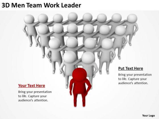 People In Business 3d Men Team Work Leader PowerPoint Templates