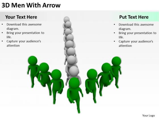 People In Business 3d Men With Arrow PowerPoint Templates