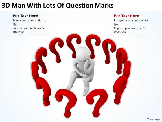 People In Business Man With Lots Of Question Marks PowerPoint Templates Ppt Backgrounds For Slides