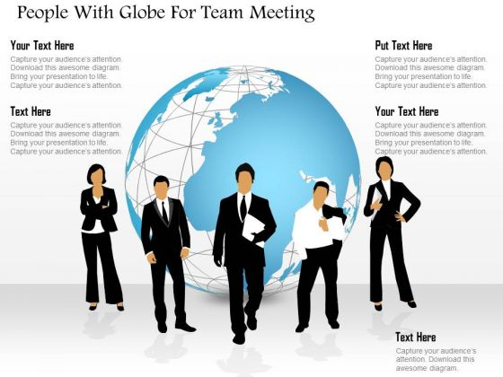 People With Globe For Team Meeting PowerPoint Template