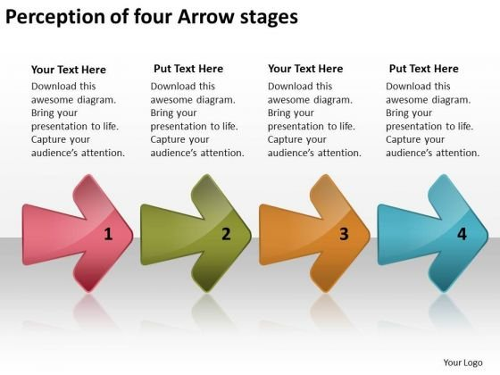 Perception Of Four Arrow Stages Basic Process Flow Chart PowerPoint Templates