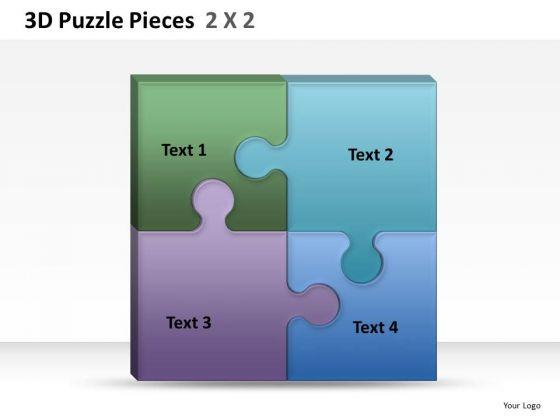 Perfect Fit 3d Puzzle Pieces 2x2 PowerPoint Slides And Ppt Diagram Templates