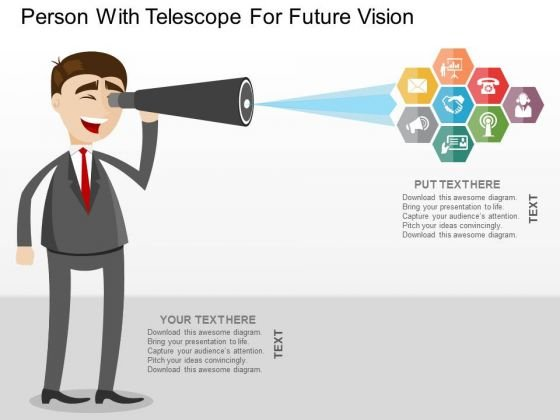Person With Telescope For Future Vision PowerPoint Templates
