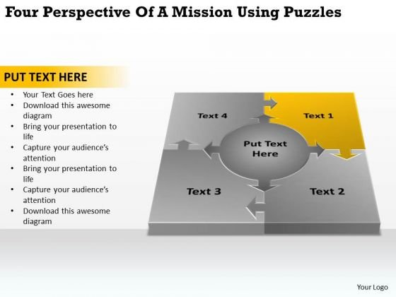 Perspective Of A Mission Using Puzzles Business Plans Examples Free PowerPoint Templates
