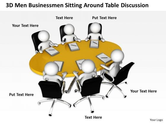 Pictures Of Business Men 3d Businessmen Sitting Around Table Discussion PowerPoint Slides