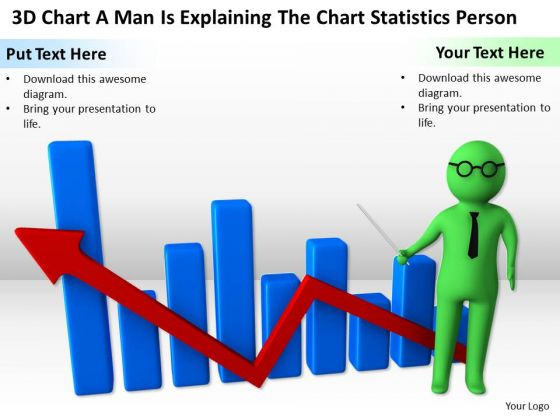 Pictures Of Business Men 3d Chart Man Is Explaining The Statistics Person PowerPoint Slides