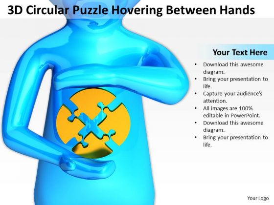 Pictures Of Business Men 3d Circular Puzzle Hovering Between Hands PowerPoint Slides
