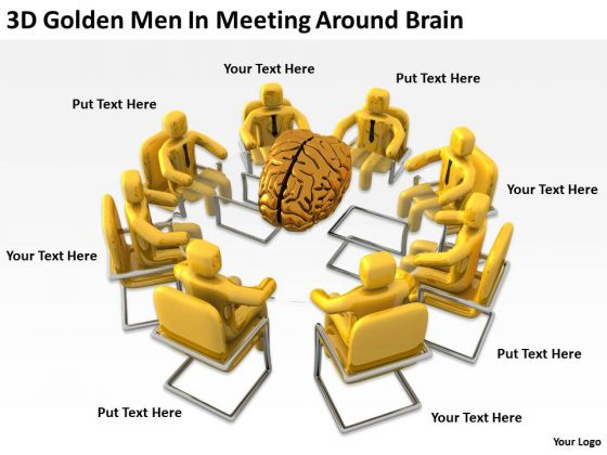 Pictures Of Business Men 3d Golden Meeting Around Brain PowerPoint Slides