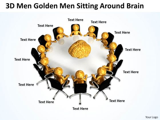 Pictures Of Business Men 3d Golden Sitting Around Brain PowerPoint Slides