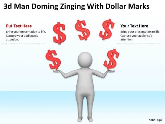 Pictures Of Business Men 3d Man Doning Zigling With Doller Marks PowerPoint Slides