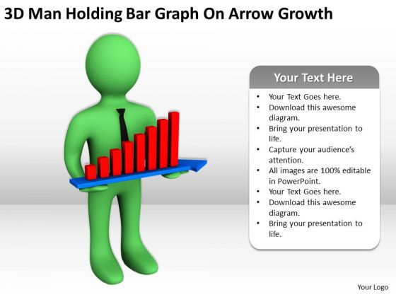 Pictures Of Business Men 3d Man Holding Bar Graph On Arrow Growth PowerPoint Templates