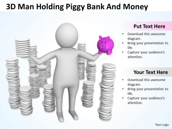 Pictures Of Business Men 3d Man Holding Piggy Bank And Money PowerPoint Slides