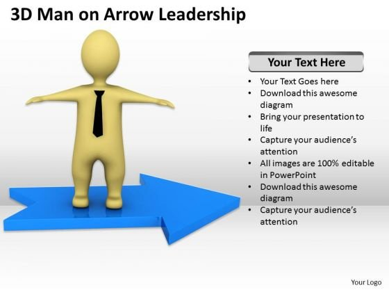 Pictures Of Business Men 3d Man On Arrow Leadership PowerPoint Slides