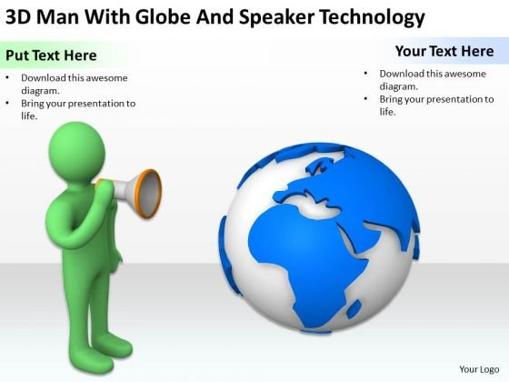 Pictures Of Business Men 3d Man With Globe And Speaker Technology PowerPoint Templates