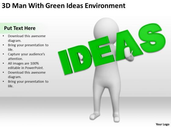 Pictures Of Business Men 3d Man With Green Ideas Environment PowerPoint Templates