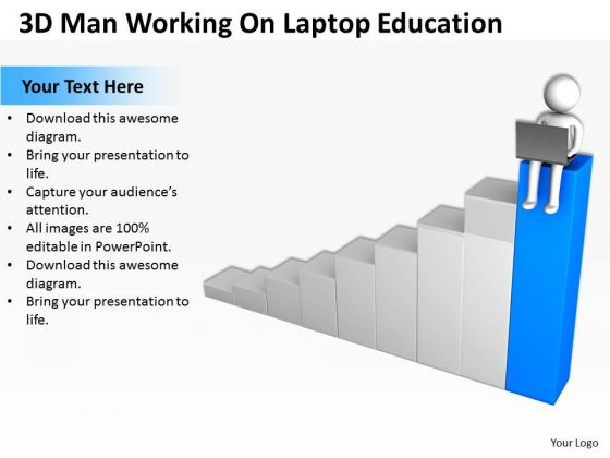Pictures Of Business Men 3d Man Working On Laptop Education PowerPoint Slides