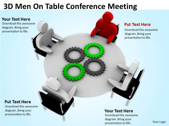 Pictures Of Business Men 3d On Table Conference Meeting PowerPoint Slides
