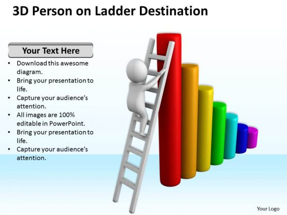 Pictures Of Business Men 3d Person Ladder Destination PowerPoint Slides