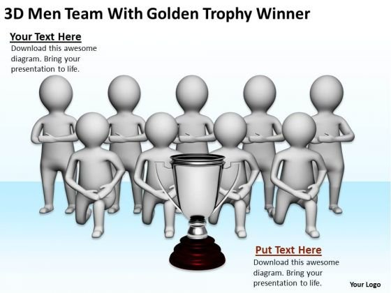 Pictures Of Business Men 3d Team With Golden Trophy Winner PowerPoint Slides