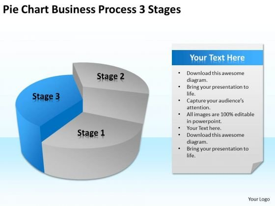 Pie Chart Business Process 3 Stages Ppt Basic Plan Outline PowerPoint Templates