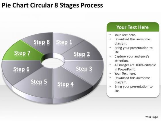 Pie Chart Circular 8 Stages Process Business Plan Format Template PowerPoint Slides